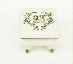 Lefton 25th Anniversary trinket box on legs with stickers - $4.50