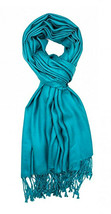 Teal Blue Fashion Pashmina Shawl Scarf 64 x 28 inches Tassels Womens - $9.11
