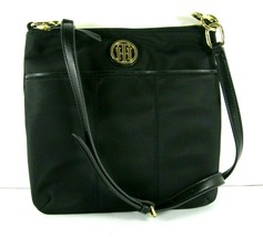 Tommy Hilfiger $78 NWT Black Nylon Crossbody Shoulder Bag Gold-tone Logo... - $49.49