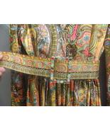 60s fab Bohemian hippie print mini dress with rhinestone belt buckle and... - $45.00