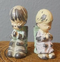 """Set of 2 Seated Praying Children Painted Iron Precious Moments 1.75""""  """"G... - $16.00"""
