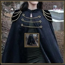 Renassiance Long Solid Midnight Capped Shoulder Gothic Cape Vintage Cloa... - $119.95
