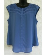 Candies Ladies Pull Over Polyester Cap Sleeve Blouse Lace Front Yoke Blue XL - $18.69