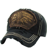 Native American Indian Skull Brave Soul Vintage Distressed Black Cap Dad... - $18.04