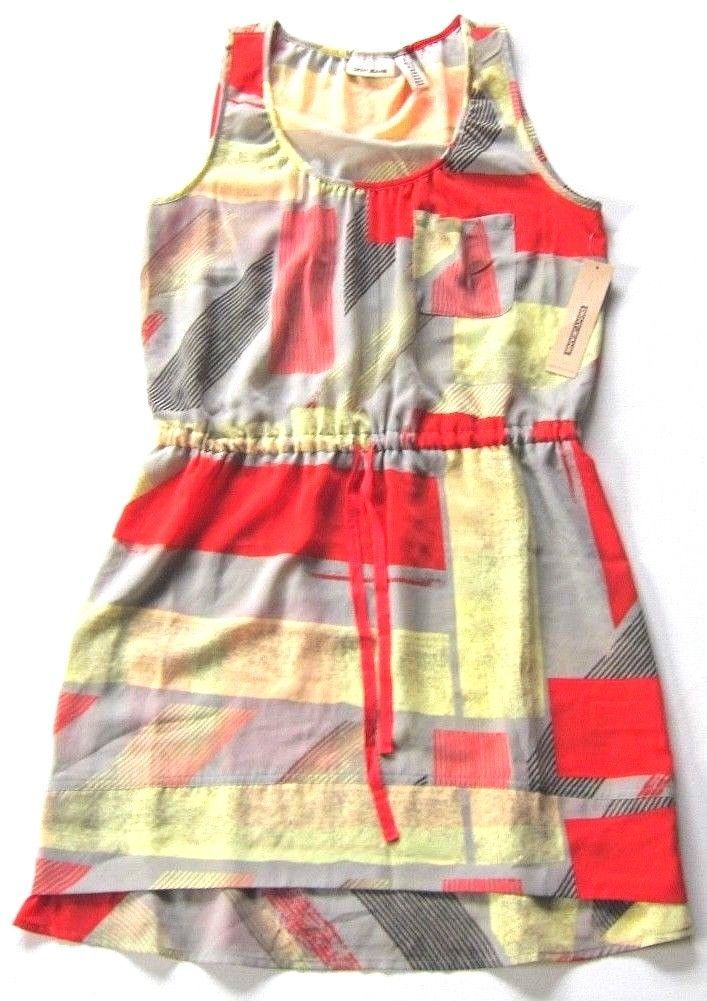 Primary image for NWT $79 DKNY Jeans Printed Tank Dress w/ Chest Pocket & Waist Tie sz S