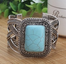 Vintage Hollow Metal Bangle Big Rectangular turquoise Bangle bracelet - $10.39