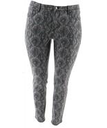 H Halston Premier Denim Snake Printed Ankle Jeans Grey 6 NEW A351349 - $18.78