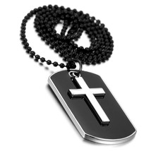 "Men""s Military Army Style Dog Tag Cross Pendant Necklace With 27 inch Be... - $20.50"