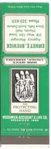 South Dakota Matchbook Cover Woodmen Accident & Life Emmet Brewick - $1.89