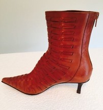 Nine West Cowboy Heel Boots Woven Leather Honey Brown Sz 5 1/2 M Zip Up - $38.69