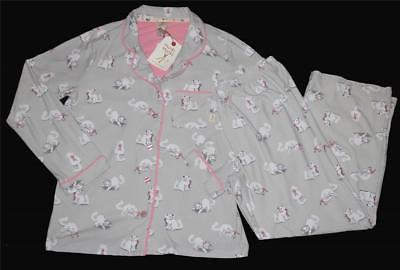 Primary image for 2 Pc Munki Munki White Cats on Grey L/S Luxuriously Soft Pajama Set Wms NWT