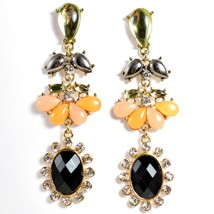 """Mode Peach & Black Lucite Bead 2.5"""" Drop Post Dangle Earrings New with Tag image 1"""