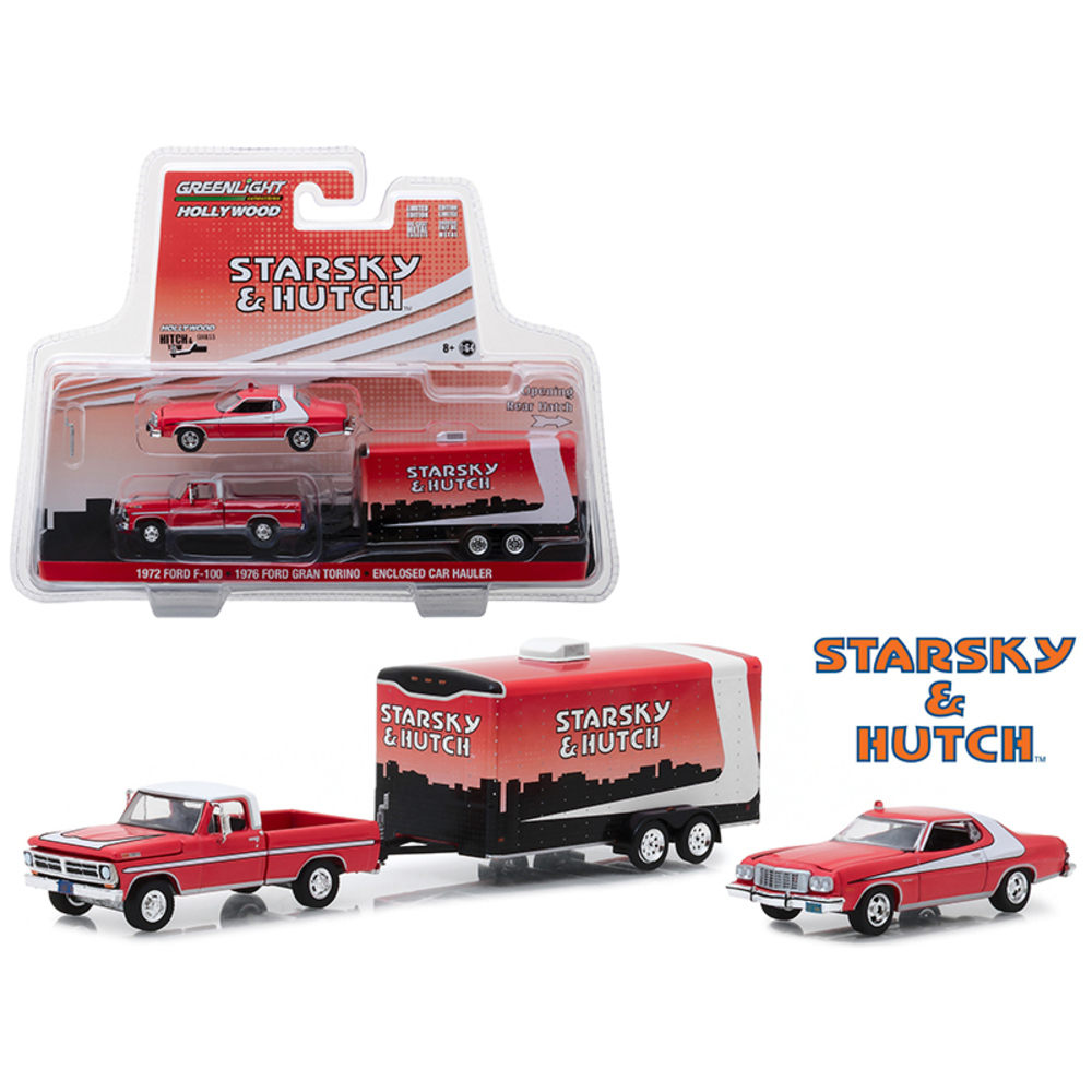 1972 Ford F-100 with 1976 Ford Gran Torino and Enclosed Car Hauler Starsky and H