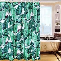 Tropical Green Shower Curtain, Waterproof Polyester Material,Rainforest Banana L - $34.93