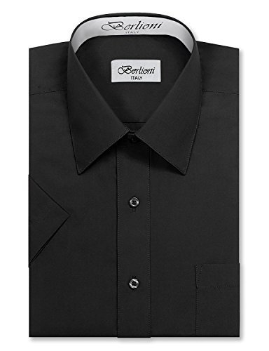 Berlioni Italy Men's Premium Classic Button Down Short Sleeve Dress Shirt (M (15