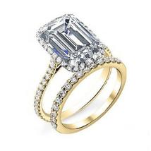 Bridal Wedding Ring Set 14k Yellow Gold FN 925 Silver Rectangular Shape White CZ - $94.25