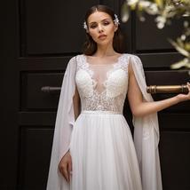 Sexy Detachable Shoulder Cape Scoop Sleeveless Lace Applique Chiffon Wedding Gow image 3