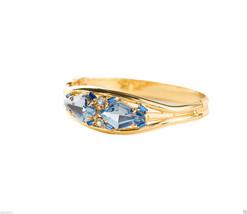 Light Blue Austrian Crystals Gold Tone Hinge-Bangle Bracelet Signed By S... - $73.46