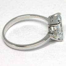 18K WHITE GOLD BAND RING AQUAMARINE 1.30 EMERALD CUT & DIAMONDS, MADE IN ITALY image 3