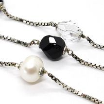 SILVER 925 NECKLACE, PEARLS, NUGGETS BLACK AND TRANSPARENT, LENGTH 85 CM image 3