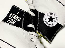Converse Mens CTAS Hi I Stand For Canvas 165709C White/Black/Fresh Yellow Sz 10 image 7