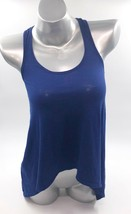 Express Dreamweight Cotton Tank Top Sz XS Blue Solid Sharkbite Hem Shirt... - $9.50