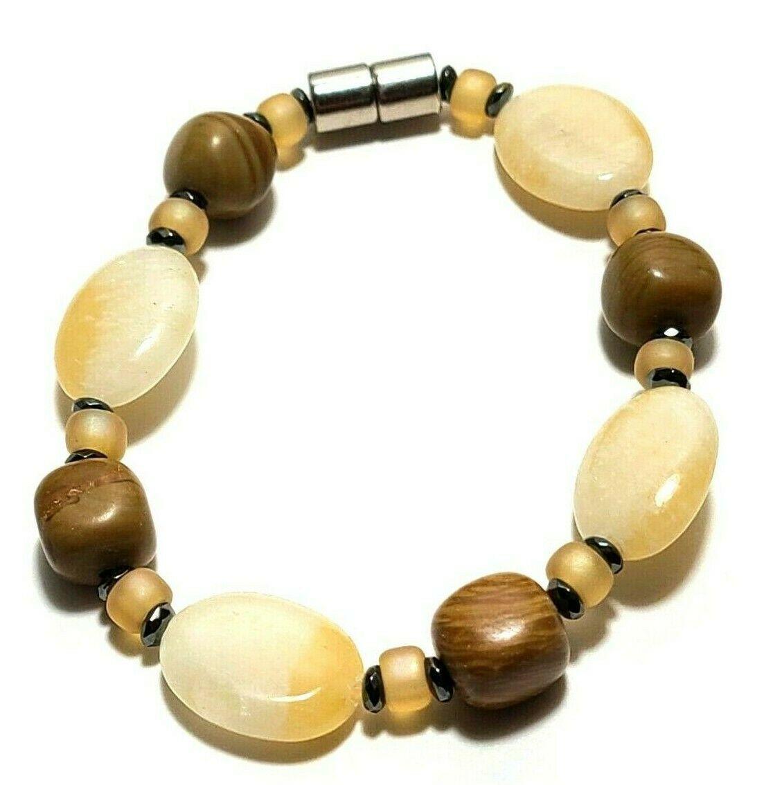 Beaded Bracelet Magnetic Hematite Clasp Single Strand   7 Inch   (MAG-021)
