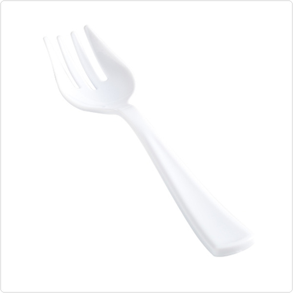 White 10 Inch Extra Heavy Plastic Serving Forks/Case of 100