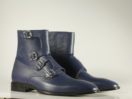 Handmade Men's Blue Leather High Ankle Monkstrap Boots image 6