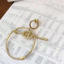 Authentic Christian Dior 2019 CD LOGO LARGE CIRCLE HOOP DANGLE DROP Earrings image 5
