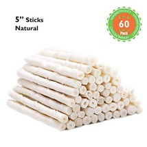 MON2SUN Dog Rawhide Twist Sticks Natural 5 Inch 60 Count for Puppy and Small Dog