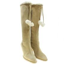 Ann Taylor LOFT Womens Size 7 Beige Suede Leather Tall Boots Pom Pom Tie - $19.79