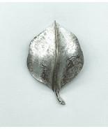 Vintage Crown Trifari Mid Century Brushed Silver Tone Leaf Pin Brooch - $32.39