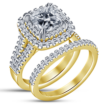 14k Gold Finish 925 Solid Real Silver Cushion Cut Diamond Womens Bridal Ring Set - $92.99