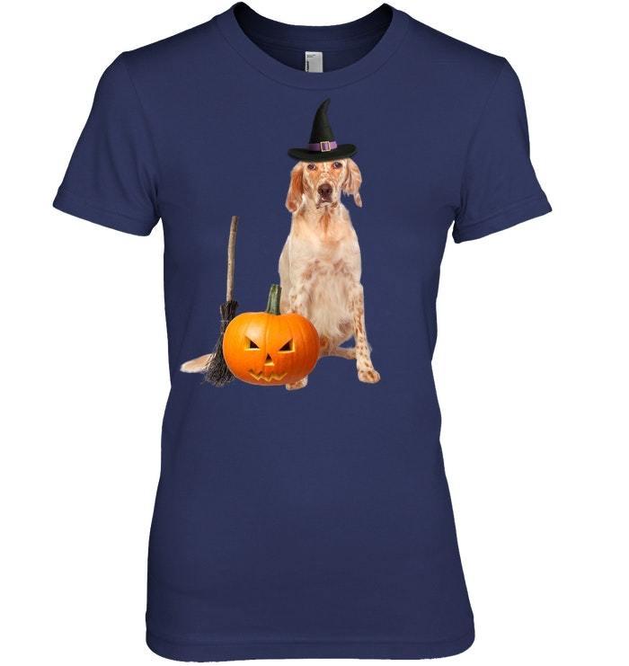 English Setter Witch Hat Halloween Dog Tshirt