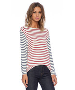 Hye Park Lune Womens White Red Blue Striped Long Sleeve Stretch Top Larg... - $9.89