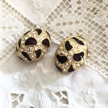 Vintage Siam Ruby Enamel Rhinestone Runway Clip Earrings - $35.00