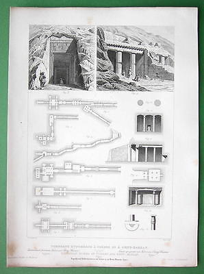 EGYPT Necropolis at Thebes and Beni-Hassan - 1850 Antique Print Engraving