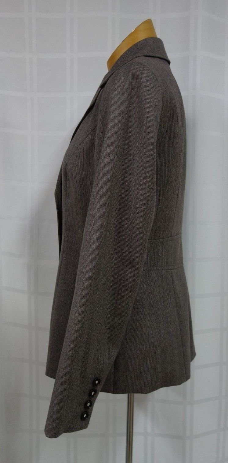 Talbots Womens Business Blazer Size 6 Brown Narrow Stripes 100% Wool Lined image 4