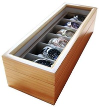 Solid Light Wood Watch Box Organizer with Glass Display Top by Case Eleg... - $57.55
