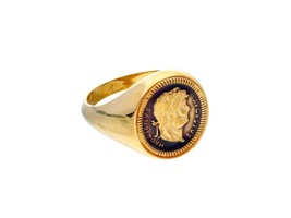 18K YELLOW GOLD SIGNET BAND RING, ROMAN COIN, EMPEROR, ENAMEL, MADE IN ITALY image 1