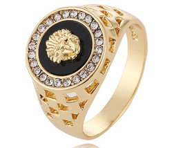 """10 x hip hop 18k plated gold color lion head rhinestone for men fashion 12""""rings - $69.99"""