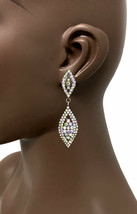 "2.5"" Long Dainty Clip On Earring Aurora Borealis Rhinestones Bridal, Pag... - $12.92"