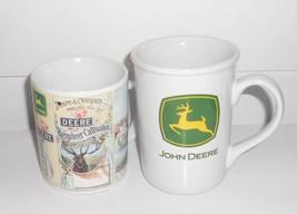 2 Vintage Mugs John Deere Logo Large Mug and John Deere Reindeer Cultiva... - $16.82