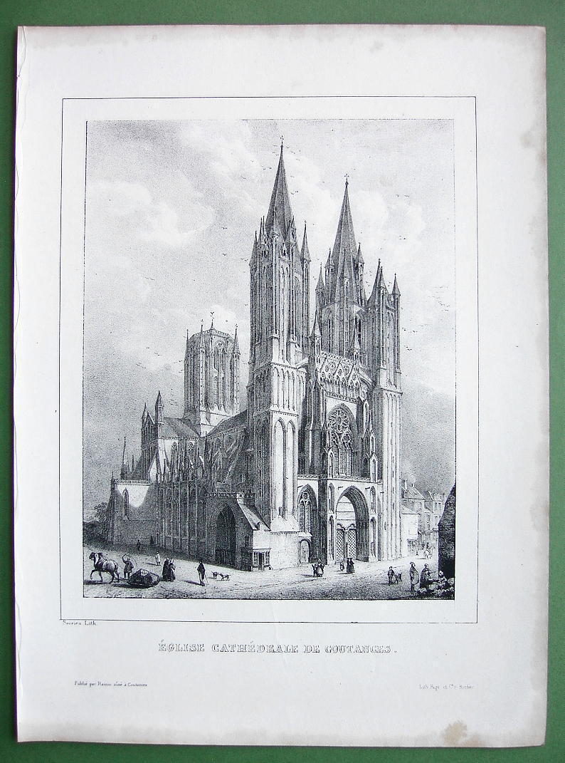 FRANCE Cathedral of Coutances - Lithograph Original Print