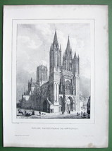 FRANCE Cathedral of Coutances - Lithograph Original Print - $26.96