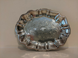 """Wallace Silverplate Footed Tray Avalon 1530 Baroque 6.5"""" Mid Century 195... - $30.00"""