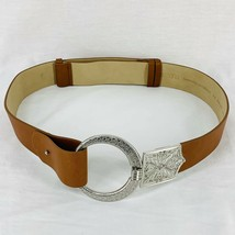 Chicos BOHO Belt Silver Buckle Faux Brown Leather Adjustable Womens Size... - $19.00