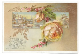 Antique Victorian Reward of Merit 4X6 Card Pale Pink Rose Gold Leaves Gibson - $6.69