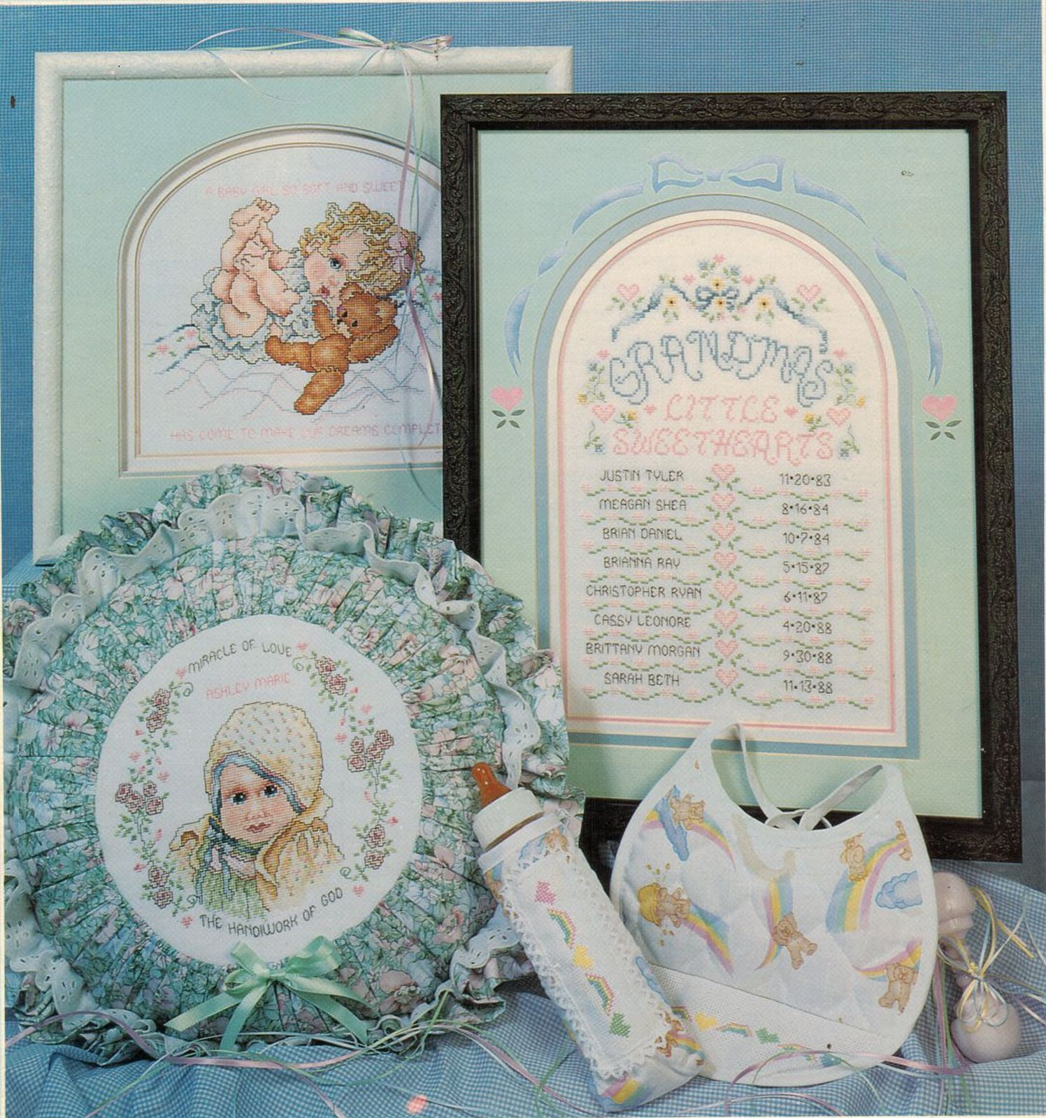Primary image for 1989 Baby Cuddles & Snuggles Cross Stitch Grandma & Pa Bunnies Bear Pattern Book